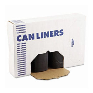 Image of an open box of black can liners, sold from GPI