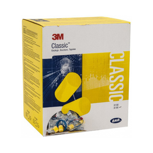 Box of 3M classic fit yellow corded ear plugs