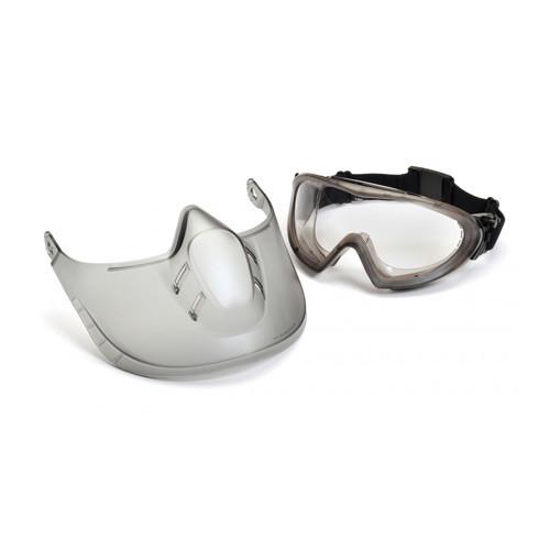 Pyramex capstone clean anti-fog goggles with a face shield.