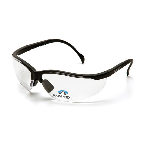 Pryamex V2 clear lens black frame reader safety glasses sold by Gloves Plus Inc.