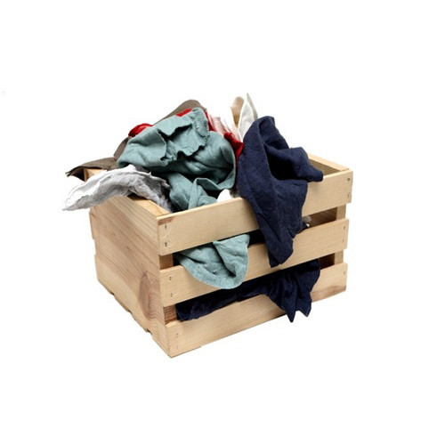 Image of a wooden box full of t-shirt rags sold by Gloves Plus Inc.