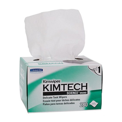 Image of an open box of Kimwipe Kimtech towels