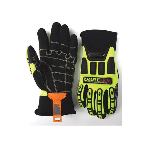 Ogre-Kv Kevlar Reinforced Black Fabric Palm/Lime Spandex Back Neoprene Cuff  With Gusset Glove