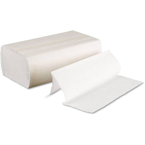 Image of a pack of multi fold white paper towels, sold by Gloves Plus Inc