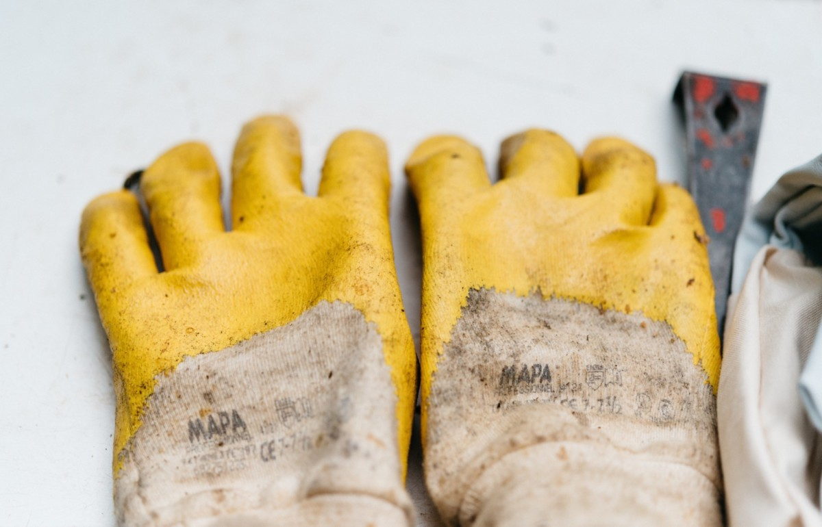 photo of work safety gloves